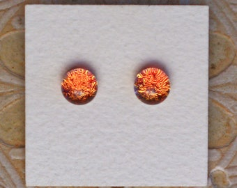 Dichroic Glass Earrings, Light Coral  DGE-1176