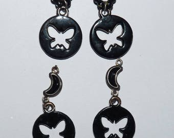 4 charms pendants black butterflies hollowed out for jewelry making