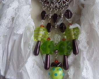 Beaded Jewelry Handmade Bright Green Lampwork Beads Silk Ribbon Necklace, Dangle Beads Necklace and Earrings, Burgundy and Green Necklace