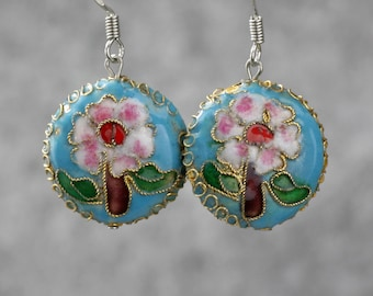 Asian cloisonne drop earrings Bridesmaid gifts Free US Shipping handmade Anni designs