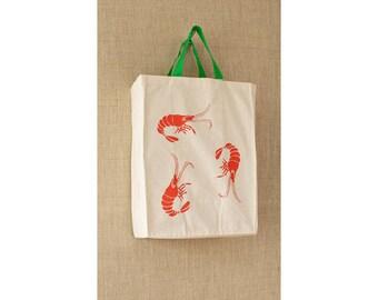 Canvas Bag, Free Shipping, Cotton, Reusable Grocery Bag, Eco Friendly Bag, Cheap Bag, Shrimp