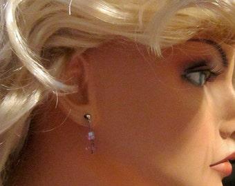 Vintage Lavender Crystal Pierced Earrings