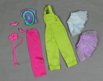 Barbie Clothes, 7 pieces, a blue and a purple mini skirts, matching top, Strapless tube dress w/Belt and shoes Coveralls Excellent condition