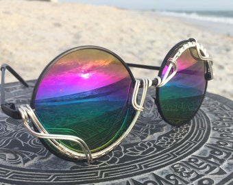 Rainbow Round Reflective Unisex Mens Womens Sunglasses, Festival Party Costume Cosplay SunGlasses, SPUNGLASSES, Every pair is a piece of art