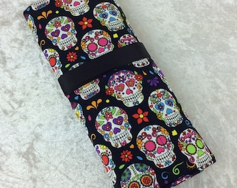Handmade Makeup Pen Pencil Roll Crochet Knitting needles tool holder case Gothic Candy Skulls Day Of The Dead