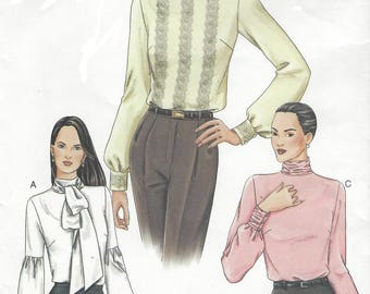 Womens High Neckline Blouses Collar and Sleeve Variations OOP Vogue Sewing Pattern 7604 Size 14 16 18 Bust 36 38 40 UnCut Suit Blouse