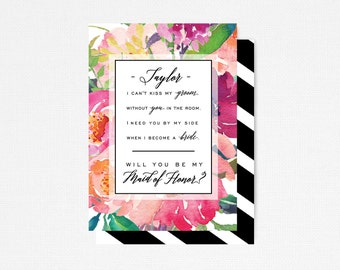 Printable Maid of Honor Card, Will you be my MAID OF HONOR, Best Friend Proposal, Personalized Bridal Party Card, Asking Maid of Honor Card