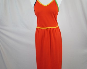 Vintage 80s 90s Womens Cute Summer Spaghetti Strap Multi Color Dress