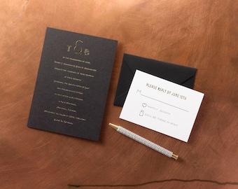 Modern Art Deco foil letterpress wedding invitation