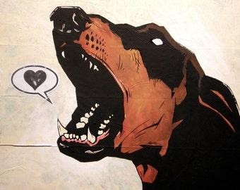 Doberman Pinscher - 8x10 Art Print - Love (Bark) - Dog