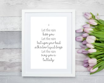 Let the rain poem print, digital print, wall art, wall print, home print, poem print, quote print, typography wall art, home wall decor