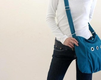 Sale 25 % - Teal Messenger bag, Small shoulder bag, Diaper bag, Tote bag, Women hobo Cross body , Gift for her  / no.16 DENISE