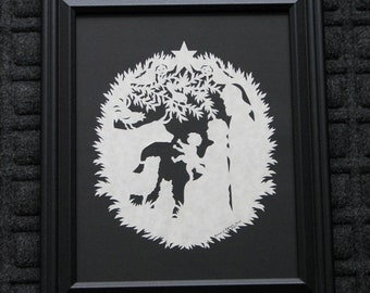 Scherenschnitte Paper Cutting Christmas Nativity -  Framed 8x10  - Hand Cut and Signed By Janet Lynch