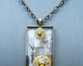 Chagall meets steampunk resin pendant brass/bronze necklace