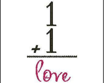 One plus one equals love embroidery design 1+1 = love wedding embroidery designs  family embroidery design new baby embroidery design