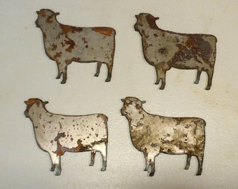 Lot Set of 4 Rusty 3 inch Sheep Shapes Vintage Antique Metal Art Ornament Craft Stencil Sign