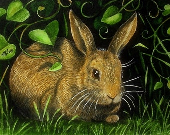 Cottontail Bunny Rabbit in a Garden Melody Lea Lamb ACEO Print