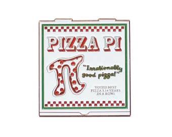 Pizza Pi Enamel Lapel Pin // Pi day math geek jewelry