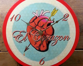 Loteria El Corazon Wall Clock