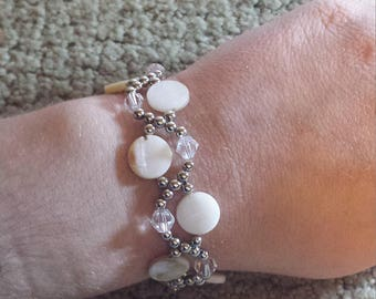 white shell beaded bracelet