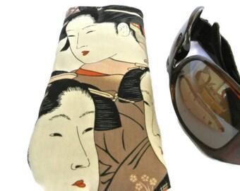 Soft Eyeglasses Case , Oriental Sunglasses Pouch , Reading Glasses Soft Cover , Geisha Eyeglasses Sleeve , Gift for Her , Womens Gift