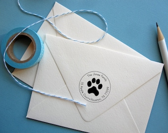 Return Address Stamp with paw print, circle address stamp with dog paw, self Inking black, rubber stamp wood handle