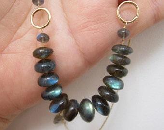 Labradorite Solid 14k Gold Necklace