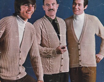PDF mens cardigan cardigans vintage knitting pattern pdf INSTANT download men's cable sweater pattern only 1970s 38 40 42 44 and 46 inches