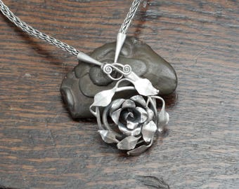 Hand Forged Sterling Silver Rose Necklace