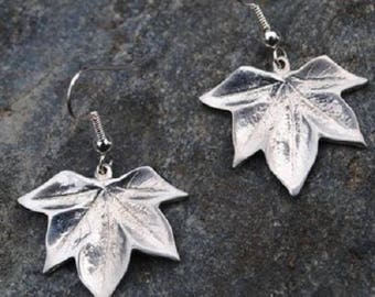 Sycamore Leaf Pewter Earrings