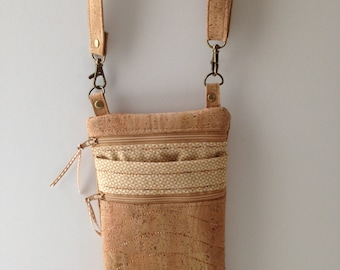 Natural Cork Vegan Leather  Crossbody Bag Brass Hardware