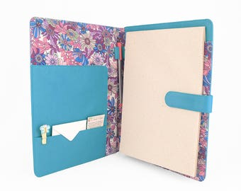 A4 Fabric Lined Leather PadFolio / Portfolio / Pad Holder with 2 inside pockets. Personalized.
