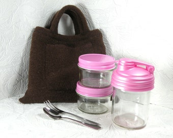 to go snack tote - glass - rectangle - brown