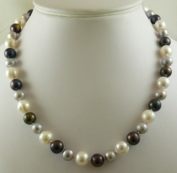 Freshwater Multi-Colored Necklace 14k White Gold Lock 18 1/2 inches Long