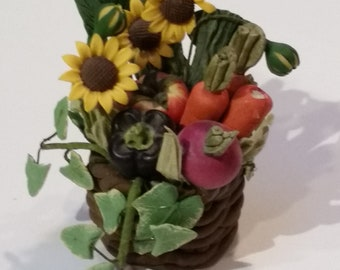 Tiny Garden Floral and Vegetable Basket w/ Sunflowers - Doll House or Fairy Garden Size
