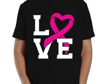 Love Heart Pink Ribbon Breast Cancer Survivor Awareness October Toddler T-Shirt KID-0021