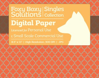 Moroccan Pattern on Kraft Digital Paper - Single Sheet in Orange - Printable Scrapbooking Paper