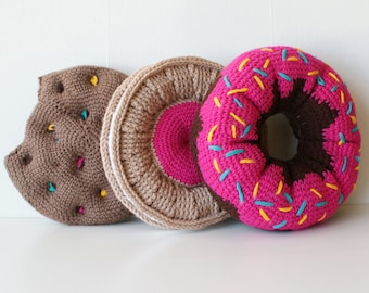 "DIY Crochet PATTERN - Sweet Treats Cushion Collection - 11"" diameter Donut, Chocolate Chip Cookie, and Fruit Creme Cookie (2015028)"