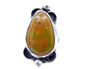Sterling Silver Jasper Ring - Size 8 - Teardrop Shape Brown Green Stone - Weight 11.7 Grams - Signed # 4472