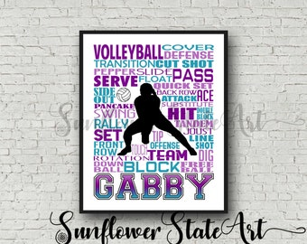 Personalized Volleyball Poster Typography, Volleyball Team Gift Volleyball Print, Volleyball Art Gift for Volleyball Players Volleyball Team