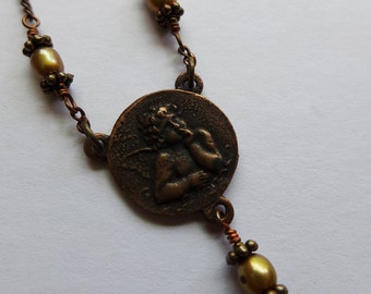Handcrafted Copper and Brass Cherub and Flowered Charm Necklace with Champagne Freshwater Pearls and Sterling Silver Clasp