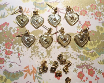 4 Pairs of Goldplated Praying Hands Earrings Charms