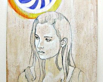 SALE Gaze- Original illustration- watercolor and gouache painting