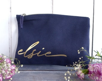 Personalised Make Up Bag - Bridesmaid Proposal Gift - Bridal Party Thank You Gift - Makeup Pouch - Maid of Honor Gift - Any Name Bag