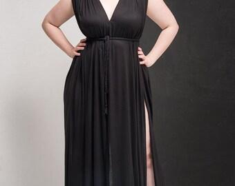 Black Drape Maxi Multifit Tall Dress With Splits UK8 - UK14