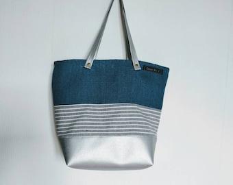 Blue and silver handbag