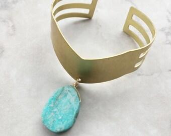 Amazonite Cuff Bracelet   Brass   Adjustable   Cut-Out Cuff   Chevron Cuff