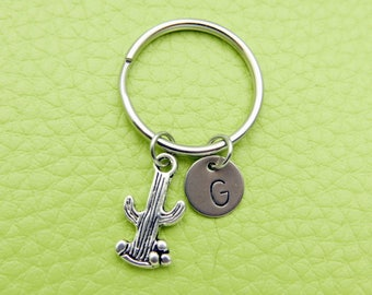 Cactus initial Keychain personnalized stainless steel monogram Keyring