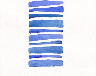 Abstract blue stripes art on 8.3 x 11.7 size paper. Original watercolor painting. Modern home decor.