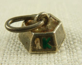 Vintage Sterling and Enamel 1Kg Weight Charm